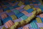 Rainbow Blocks Afghan, close up