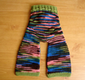 Earth's Bliss Knit Wool Pants- machine knit body, hand knit ribbing- back